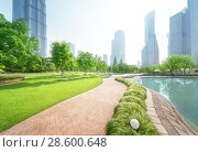 Купить «park in lujiazui financial center, Shanghai, China», фото № 28600648, снято 28 мая 2014 г. (c) Iakov Kalinin / Фотобанк Лори