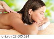 Купить «close up of beautiful woman having massage at spa», фото № 28605524, снято 25 июля 2013 г. (c) Syda Productions / Фотобанк Лори