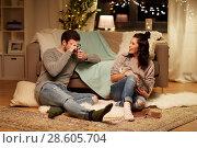 Купить «happy couple with camera photographing at home», фото № 28605704, снято 13 января 2018 г. (c) Syda Productions / Фотобанк Лори