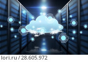 Купить «virtual cloud hologram over futuristic server room», фото № 28605972, снято 25 июня 2019 г. (c) Syda Productions / Фотобанк Лори