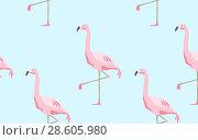Купить «seamless pattern of flamingos over blue background», фото № 28605980, снято 3 июля 2020 г. (c) Syda Productions / Фотобанк Лори