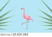 Купить «pink flamingo bird over blue background», фото № 28605984, снято 3 июля 2020 г. (c) Syda Productions / Фотобанк Лори