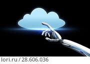 Купить «robot hand with cloud computing icon over black», фото № 28606036, снято 22 октября 2018 г. (c) Syda Productions / Фотобанк Лори