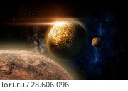 planet and stars in space. Стоковое фото, фотограф Syda Productions / Фотобанк Лори