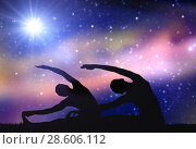 Купить «couple making yoga exercises over space background», фото № 28606112, снято 6 августа 2014 г. (c) Syda Productions / Фотобанк Лори