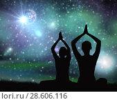 Купить «black silhouette of couple meditating over space», фото № 28606116, снято 6 августа 2014 г. (c) Syda Productions / Фотобанк Лори