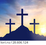 Купить «silhouettes of three crosses on calvary hill», фото № 28606124, снято 23 октября 2018 г. (c) Syda Productions / Фотобанк Лори