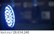 Купить «Blue stage lighting - working show», видеоролик № 28614240, снято 25 сентября 2018 г. (c) Константин Шишкин / Фотобанк Лори