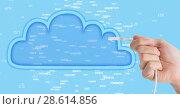 Купить «Composed Image of hand holding cable into blue illustrated cloud», фото № 28614856, снято 15 декабря 2018 г. (c) Wavebreak Media / Фотобанк Лори