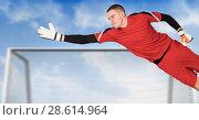 Купить «Soccer goalkeeper saving in goal», фото № 28614964, снято 22 июня 2018 г. (c) Wavebreak Media / Фотобанк Лори