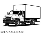 Купить «Vector truck outline template isolated on white», иллюстрация № 28615520 (c) Александр Володин / Фотобанк Лори