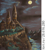 Ancient castle on a high rock illuminated by the moon. Pastel drawing on paper. Стоковая иллюстрация, иллюстратор Олег Хархан / Фотобанк Лори