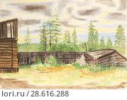 Economic buildings in the taiga village. Drawing with colored crayons. Стоковая иллюстрация, иллюстратор Олег Хархан / Фотобанк Лори