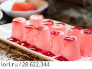 Купить «lot of souffle fruit cakes on a buffet», фото № 28622344, снято 21 июня 2014 г. (c) Володина Ольга / Фотобанк Лори