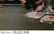 Купить «Recycling of garbage with hands Cardboard paper production», видеоролик № 28622848, снято 14 июня 2018 г. (c) Aleksejs Bergmanis / Фотобанк Лори
