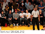 Купить «Celebrities at the Los Angeles Lakers game. The Golden State Warriors defeated the Los Angeles Lakers by the final score of 109-85 at the Staples Center...», фото № 28626212, снято 25 ноября 2016 г. (c) age Fotostock / Фотобанк Лори