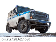 Купить «Dirty cop SUV on the ground. Isolated.», фото № 28627680, снято 29 апреля 2016 г. (c) Александр Сергеевич / Фотобанк Лори