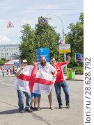 Купить «Английские футбольные фанаты в Нижнем Новгороде», фото № 28628792, снято 24 июня 2018 г. (c) Александр Романов / Фотобанк Лори