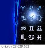 Купить «Twelve symbols of the zodiac. Space horoscope», иллюстрация № 28629652 (c) ElenArt / Фотобанк Лори