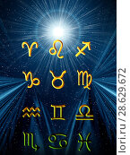 Купить «Twelve symbols of the zodiac. Space horoscope», иллюстрация № 28629672 (c) ElenArt / Фотобанк Лори