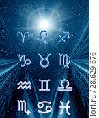 Купить «Twelve symbols of the zodiac. Space horoscope», иллюстрация № 28629676 (c) ElenArt / Фотобанк Лори