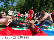 Купить «KAZAN, RUSSIA - JUNE 23, 2018: Traditional Tatar festival Sabantuy - Adult strong men wrestling at pulling the stick outdoors», фото № 28630996, снято 23 июня 2018 г. (c) Константин Шишкин / Фотобанк Лори