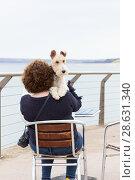 Купить «Woman with terrier in beach cafe», фото № 28631340, снято 1 июля 2017 г. (c) Ольга Марк / Фотобанк Лори