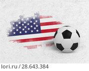 Купить «Composite image of black and white football», фото № 28643384, снято 19 июня 2019 г. (c) Wavebreak Media / Фотобанк Лори