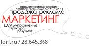 Купить «Иллюстрация с текстом о маркетинге», иллюстрация № 28645368 (c) Julia Shepeleva / Фотобанк Лори