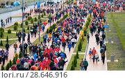 Купить «Football fans attend stadion Kaliningrad before match between Spain and Marocco», видеоролик № 28646916, снято 25 мая 2018 г. (c) Антон Гвоздиков / Фотобанк Лори