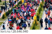 Купить «Football fans attend stadion Kaliningrad before match between Spain and Marocco», видеоролик № 28646940, снято 25 мая 2018 г. (c) Антон Гвоздиков / Фотобанк Лори