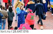 Купить «Football fans attend stadion Kaliningrad before match between Spain and Marocco», видеоролик № 28647016, снято 25 мая 2018 г. (c) Антон Гвоздиков / Фотобанк Лори