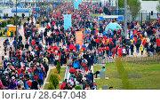 Купить «Football fans attend stadion Kaliningrad before match between Spain and Marocco», видеоролик № 28647048, снято 25 мая 2018 г. (c) Антон Гвоздиков / Фотобанк Лори