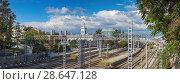 Купить «SOCHI, RUSSIA - OCTOBER 3, 2017: Rail way tracks», фото № 28647128, снято 3 октября 2017 г. (c) Николай Сивенков / Фотобанк Лори