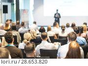 Купить «Business speaker giving a talk at business conference event.», фото № 28653820, снято 15 июня 2018 г. (c) Matej Kastelic / Фотобанк Лори