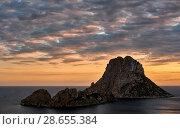 Купить «Picturesque view of the mysterious island of Es Vedra at sunset. Ibiza Island, Balearic Islands. Spain», фото № 28655384, снято 2 мая 2018 г. (c) Alexander Tihonovs / Фотобанк Лори
