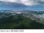Купить «Aerial view of wheat fields, meadow, forest and village in rural Russia.», фото № 28662520, снято 11 июня 2018 г. (c) Андрей Радченко / Фотобанк Лори