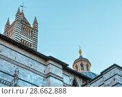 Купить «Siena Cathedral bell tower, Tuscany, Italy», фото № 28662888, снято 23 июня 2017 г. (c) Юрий Брыкайло / Фотобанк Лори