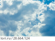 Купить «Sky with clouds», фото № 28664124, снято 18 июля 2018 г. (c) Ольга Сапегина / Фотобанк Лори