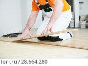 Купить «worker joining parket floor. slow motion», фото № 28664280, снято 25 января 2018 г. (c) Дмитрий Калиновский / Фотобанк Лори