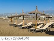 Купить «Chairs and umbrellas at sand beach», фото № 28664340, снято 14 января 2017 г. (c) Александр Никифоров / Фотобанк Лори