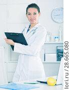 Купить «Female doctor in office», фото № 28665080, снято 28 мая 2020 г. (c) Яков Филимонов / Фотобанк Лори