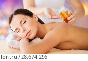 Купить «close up of beautiful woman having massage at spa», фото № 28674296, снято 25 июля 2013 г. (c) Syda Productions / Фотобанк Лори