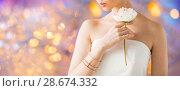 Купить «close up of beautiful woman with ring and bracelet», фото № 28674332, снято 9 апреля 2016 г. (c) Syda Productions / Фотобанк Лори