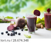 Купить «glass of beetroot juice with fruits and vegetables», фото № 28674348, снято 5 августа 2016 г. (c) Syda Productions / Фотобанк Лори