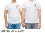Купить «close up of couple with gay pride rainbow ribbons», фото № 28674704, снято 2 ноября 2017 г. (c) Syda Productions / Фотобанк Лори