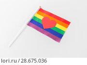 Купить «red heart on rainbow flag over white background», фото № 28675036, снято 14 ноября 2017 г. (c) Syda Productions / Фотобанк Лори