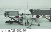 Купить «Service of the aircraft preparation for flight at a snowy aerodrome of Astana International Airport stock footage video», видеоролик № 28682464, снято 30 марта 2018 г. (c) Юлия Машкова / Фотобанк Лори