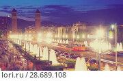 Купить «Plaza de Espana in Barcelona, Spain», фото № 28689108, снято 24 июля 2016 г. (c) Яков Филимонов / Фотобанк Лори