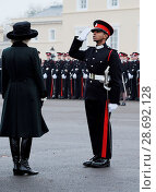 Купить «Camilla, Duchess of Cornwall attends The Sovereign's Parade at Royal Military Academy Sandhurs Featuring: Camilla, Duchess of Cornwall Where: Camberley...», фото № 28692128, снято 16 декабря 2016 г. (c) age Fotostock / Фотобанк Лори
